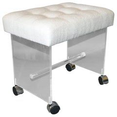 Mid-Century Modern Lucite Stool, Vanity Stool Tufted Boucle Fabric Seat Casters