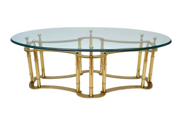Mastercraft Brass Coffee Table With Oval Glass Top Galleria D