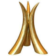 Sculptural Mid-Century Modern Brass Horn Table Sculpture, Centerpiece