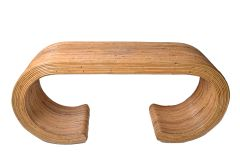 Caned Bamboo Console Table in the style of Gabriella Crespi