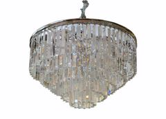 Spectacular Five Tier Chrome & Mirrored Crystal Chandelier
