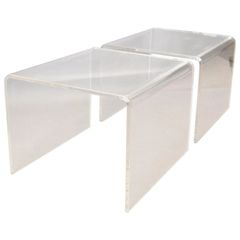 Clear Mid-Century Modern Lucite End Tables, Sofa Tables, Side Tables - Pair