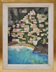 Emilio Pucci Oil on Canvas Depicting Positano
