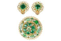 Brooch & Earrings Set, 3 Pieces.