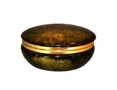 Vintage Italian Genuine Hand Carved Emerald Green Alabaster Box With Brass Ring