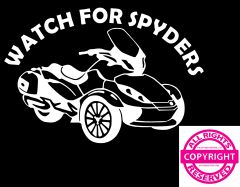 Can Am Spyder Vehicle Decal Sticker - Watch for Spyders