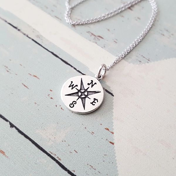 Compass charm necklacenecklacejewelryhandmadecompass necklace sterling silver compass pendant necklace aloadofball Image collections