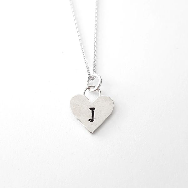 Initial necklacenecklacesterling silver necklaceinitial charm sterling silver heart letter j initial necklace aloadofball Image collections
