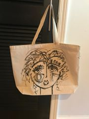 "hand-painted canvas shopping bag, each face different. Part of the ""Diva Series"""