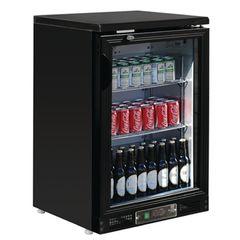 Polar Single Door Back Bar Cooler in Black with LED Lighting CB507