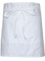 White Bar Apron With Front Pocket