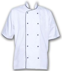 Short Sleeve Superior White Jacket Black Piping XS