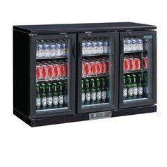 Polar Triple Hinged Door Back Bar Cooler in Black GL014