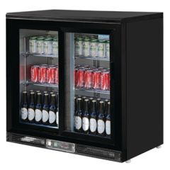 Polar Double Hinge Door Back Bar Cooler in Black with LED Lighting GL012