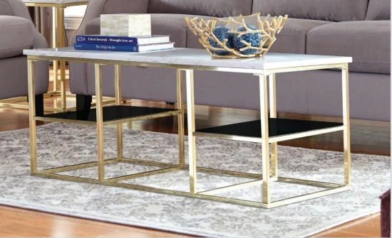 White Marble Top Coffee Table With Brass Frame Home Accents La