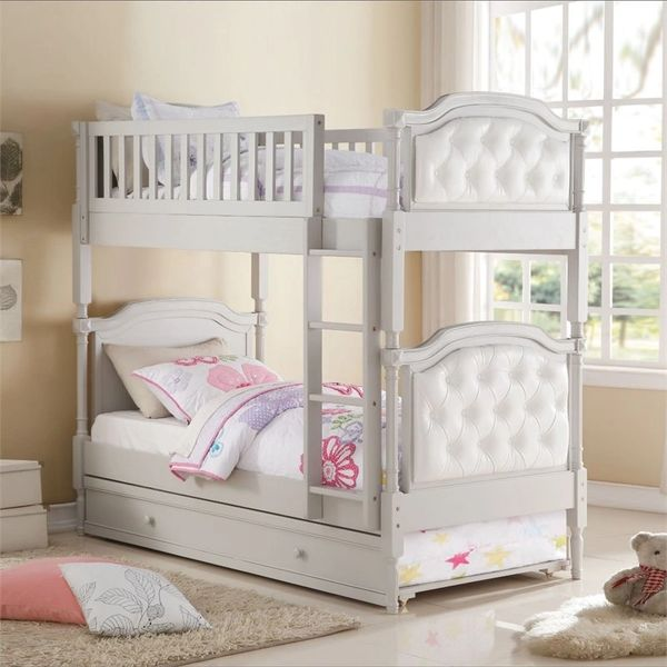 Pearlie Twin over Twin Bunk Bed in Gray and Pearl White with Trundle ...