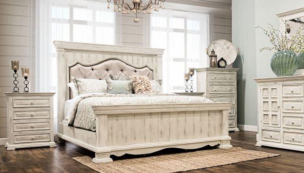 King Padded Bedroom Set Distressed White King Bed Dresser - White-king-bed-frame