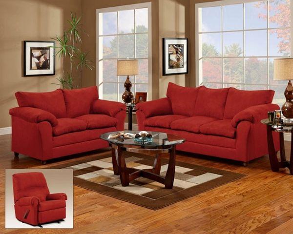 Flat Suede Red | Sofa and Loveseat | La Hacienda Furniture Store
