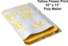 "Yellow Flower Print Poly Mailers 10"" x 13"""