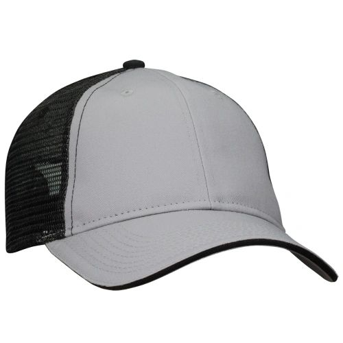 Mesh Back Sandwich Cap - Mid Profile - Grey/Black