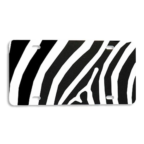 Black ZEBRA PRINT Heavy Plastic License Tag Blanks
