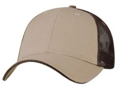 Mesh Back Sandwich Cap - Mid Profile - Khaki/Brown