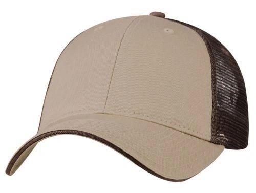Mesh Back Sandwich Cap - Mid Profile - Khaki/Brown