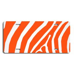 Orange ZEBRA PRINT Heavy Plastic License Tag Blanks