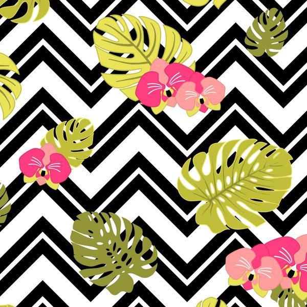 Floral Stripes Chevron Pattern Digitally Printed
