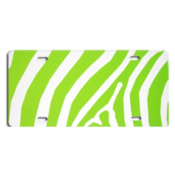 Lime ZEBRA PRINT Heavy Plastic License Tag Blanks