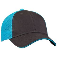 Mesh Back Sandwich Cap - Mid Profile - Charcoal/Neon Blue
