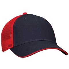 Mesh Back Sandwich Cap - Mid Profile - Navy/Red