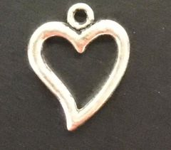 Floating Heart Charm Tibetan Silver Metal