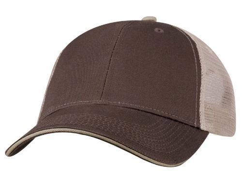 Mesh Back Sandwich Cap - Mid Profile - Brown/Khaki