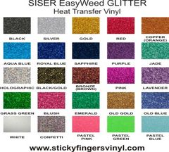 "SISER EasyWeed GLITTER Sheets 8"" x 12"""