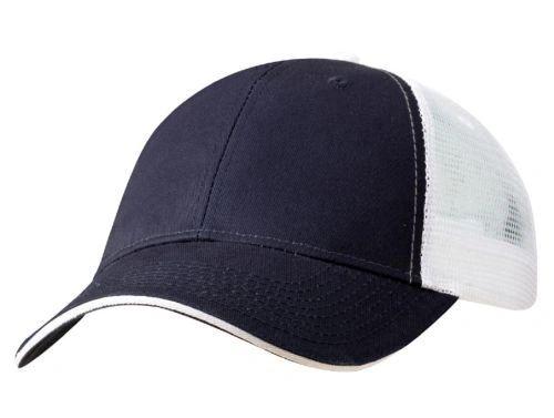 Mesh Back Sandwich Cap - Mid Profile - Navy/White