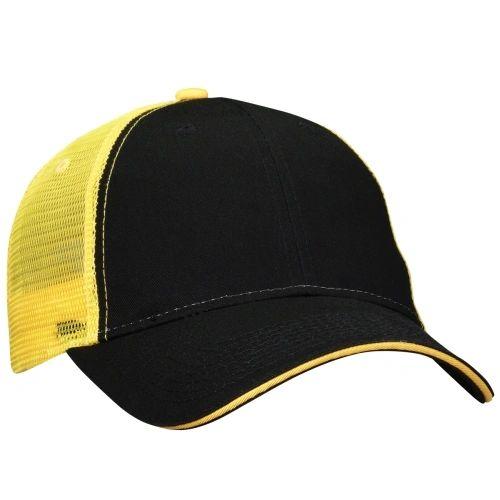 Mesh Back Sandwich Cap - Mid Profile - Black/Gold