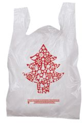Plastic Christmas Tree Holiday T-Shirt Bag-Red Print