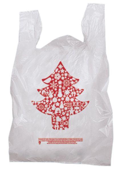 Plastic Christmas Tree Holiday T-Shirt Bag-Red Print
