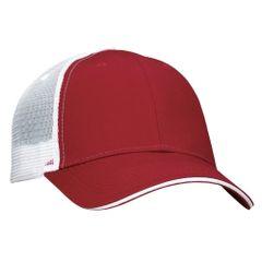 Mesh Back Sandwich Cap - Mid Profile - Maroon/White