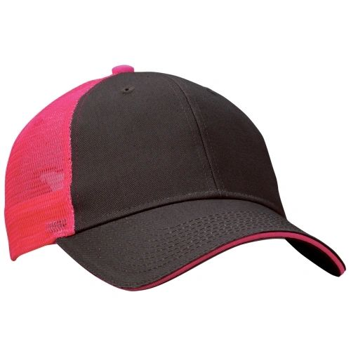 Mesh Back Sandwich Cap - Mid Profile - Charcoal/Neon Pink