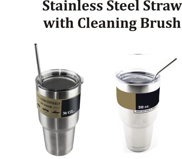 Stainless Steel Straw with Cleaning Brush Set