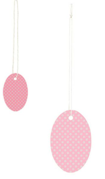 Small or Large Oval Pink Polka Dots Strung Price Tags