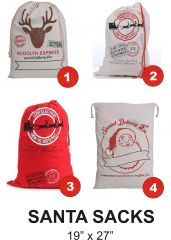SANTA SACKS Cotton Drawstring Sacks