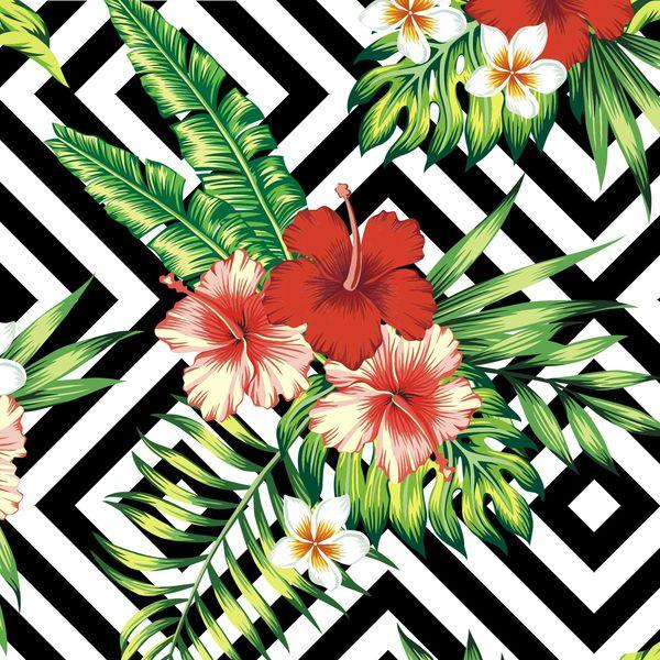Floral Stripes Pattern Digitally Printed