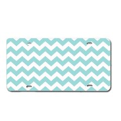 Blue CHEVRON PRINT Heavy Plastic License Tag Blanks