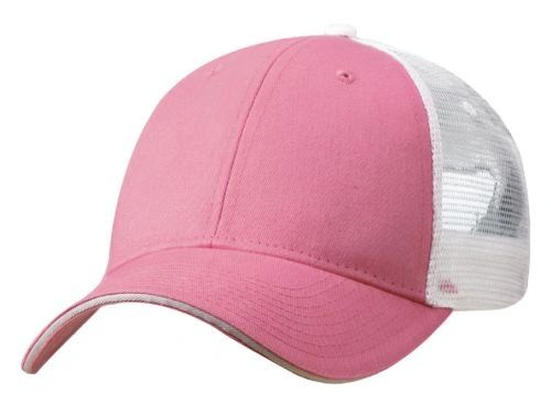Mesh Back Sandwich Cap - Mid Profile - Pink/White