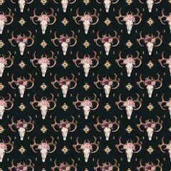 Bull Flower Pattern Digitally Printed
