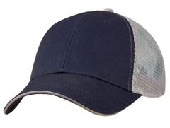 Mesh Back Sandwich Cap - Mid Profile - Navy/Grey