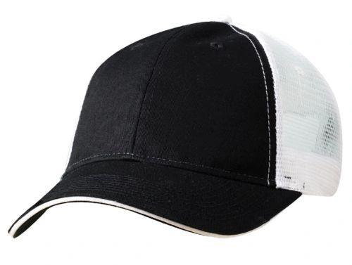 Mesh Back Sandwich Cap - Mid Profile - Black/White